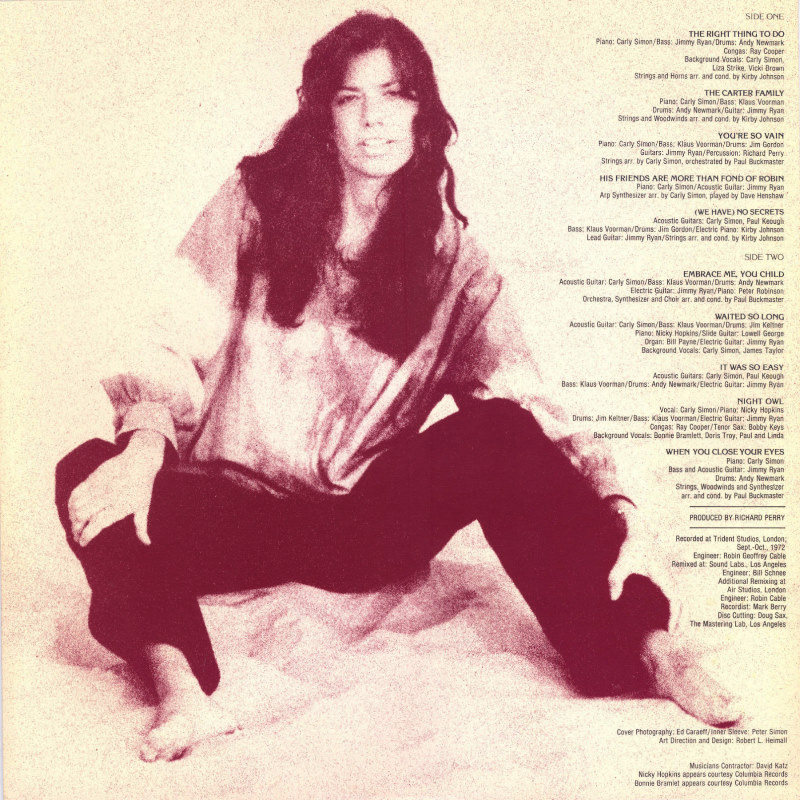 Album Review Of No Secrets By Carly Simon On Monday Night